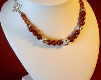 Silver and coral beads