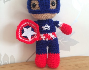 Captain America Amigurumi Figure Doll with Shield