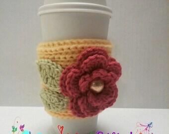 Coffee cup cozy - To go cup cozy - Crochet Cozy - Flower Cozy