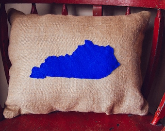 Kentucky Burlap Pillow