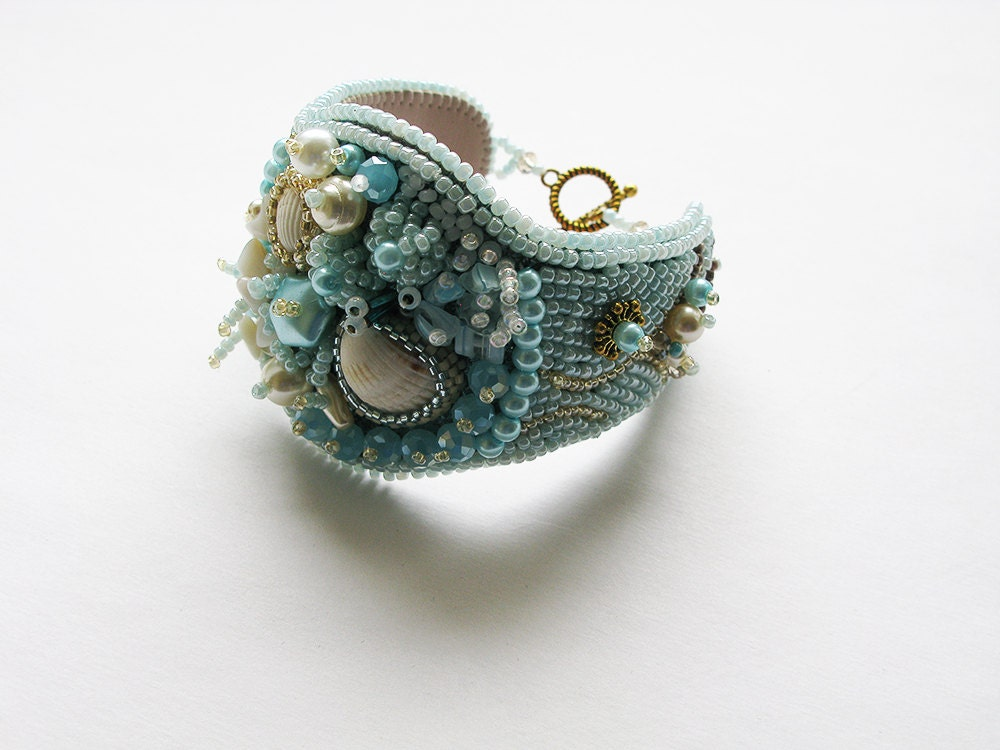 Bead embroidery bracelet blue cuff hand wrist designer