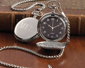 Silver Plated Pocket Watch (g101-0203) - Free Personalization