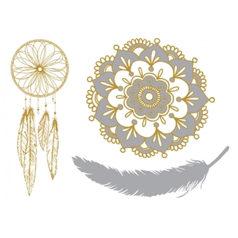 tatouages temporaires dor s mandala attrape r ve et plume. Black Bedroom Furniture Sets. Home Design Ideas