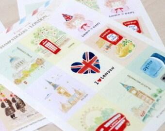 Cute Korean I LOVE LONDON Stamp Stickers/Craft Stickers/Deco Sticker