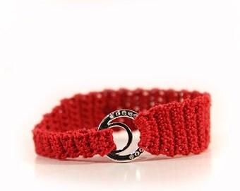 crochet bracelet - red bracelet - crochet jewelry - crochet bracelets - fine jewelry - rhinestone bracelet
