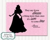 Disney Inspired Sleeping Beauty Aurora Princess Silhouette Damask Artwork Decor Wall Art 8x10 Printable Instant Download