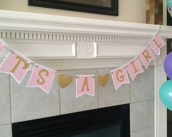 It's a Girl Pink and Gold Banner- Baby Shower Banner