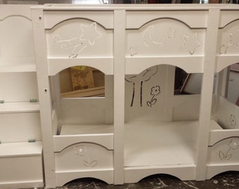 Custom Made Bunk Bed with Cut-Out Designs & Ladder