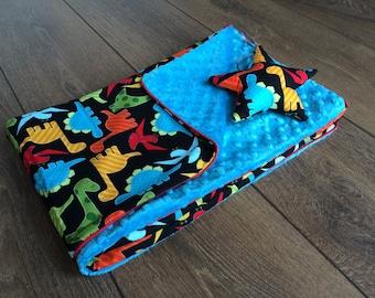 Light minky baby blanket - dinosaurs & turquoise
