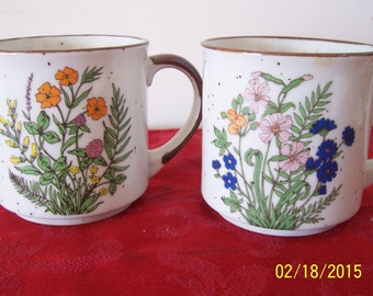 Pair of Vintage Speckled Floral Stoneware Mugs Japan