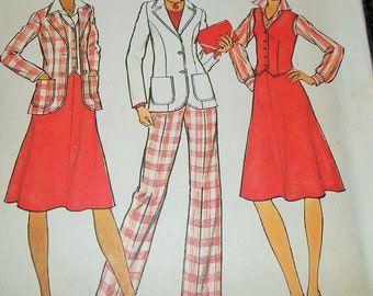 Vintage 1976 Simplicity 7377 Sewing Pattern Unlined Jacket, Vest, Skirt, and Pants in Half-Sizes 18 1/2