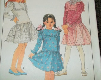 Vintage 1988 Simplicity 8819 Sewing Pattern Girls Dress Size 12
