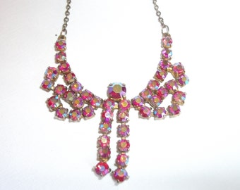 Stunning Pink Rhinestone Necklace, Aurora Borealis Crystal Necklace, Vintage Wedding,
