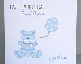 Personalised First Birthday Card - Teddy Birthday Card - 1st Birthday Card - Personalised Name Birthday Card