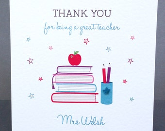 Personalised Teacher Thank you Card - Personalised Teaching Assistant Card - Handmade Teacher Thank You Cards