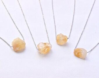 Citrine Necklace Raw Citrine Necklace Stone Necklace Raw Stone Citrine Crystal  Stone Pendant Citrine Jewelry Yellow Citrine