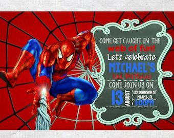 Spiderman Birthday Invitation Invite Chalkboard Chevron Pattern Spiderman Invitation Spiderman Invite