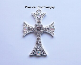 Cross Rhinestone Pendant for Chunky Necklaces,  52mm x 35mm Cross Pendant, Chunky Necklace Pendant, Cross Cabochon