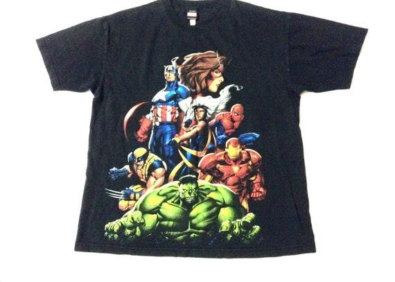 Vintage marvel t shirt comic super hero tees grapic print for Retro superhero t shirts