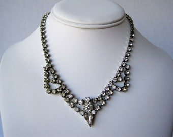 Vintage Silver Tone and Clear Rhinestone Necklace from the 1950's