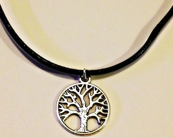 Tree of Life Necklace with Black Waxed Cotton Cord