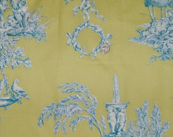 BRUNSCHWIG & FILS PASTORAL French Toile De Jouy Fabric 10 Yards Lime Aqua