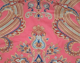 SCALAMANDRE HUDSON PAISLEY Belle Jardin Collection Fabric 10 Yards Coral Multi