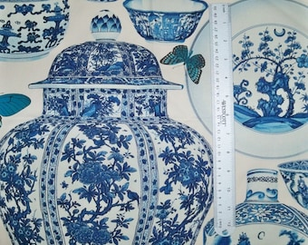 MANUEL CANOVAS CHINOISERIE Jardin Bleu Toile Fabric 10 Yards Indigo Blue White