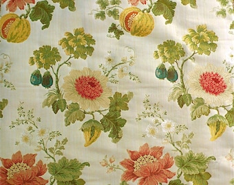 SCALAMANDRE PERRAULT SILK Lampas Colony Collection Fabric 10 Yards Multi Ecru