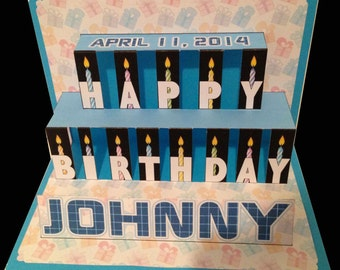 Birthday Popup Card with cutouts, candles and personalized with name and birthdate