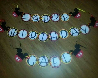 Mickey Mouse Birthday Banner personalized with Name