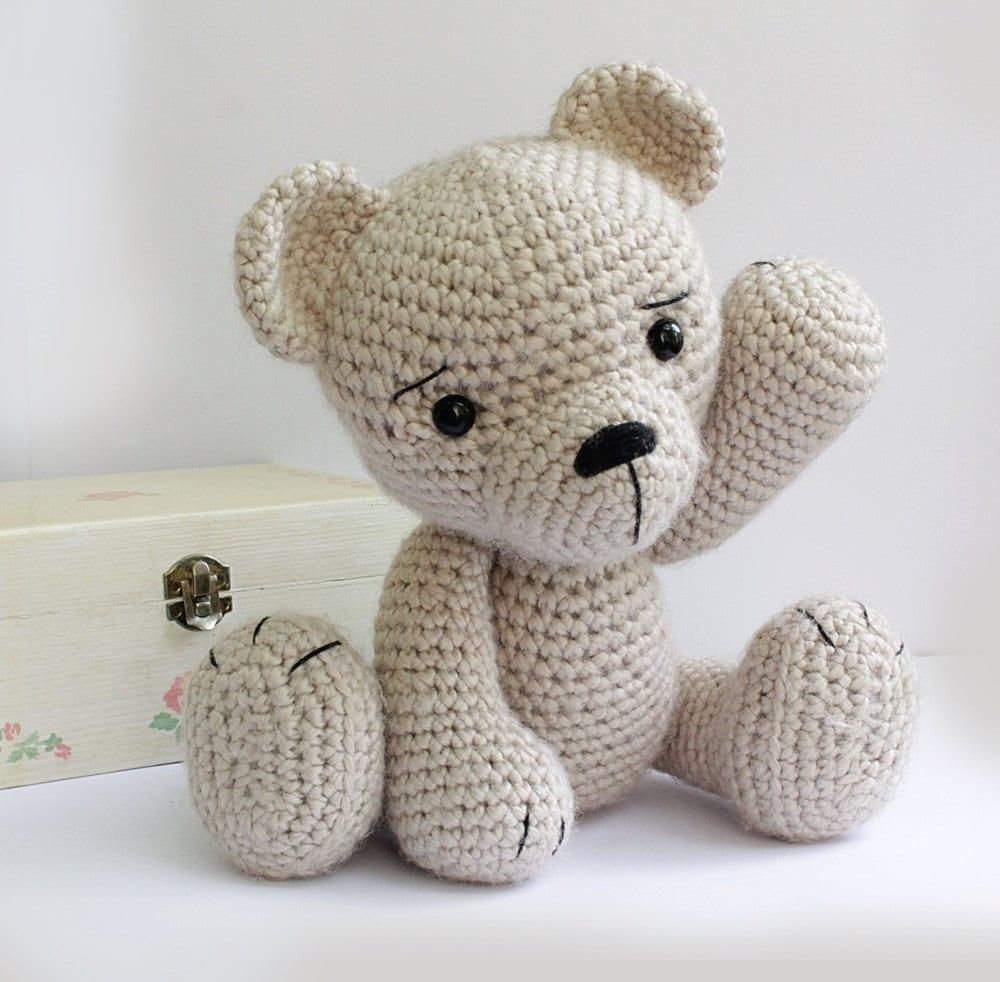 Knitting Patterns Teddy Bear Stuffed Animals : PATTERN : Bear-teddy Amigurumi bear pattern-Bear Classic