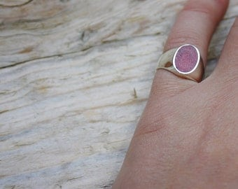 Pinky ring in Silver 925 with oval coral coral