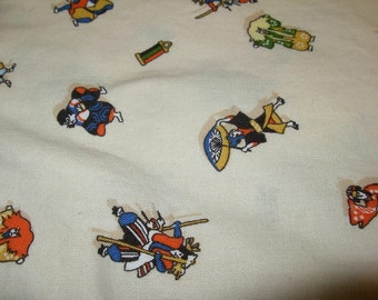 Japanese Kabuki Costume Theme Cotton Fabric with Bright Colors on Off White Background, over 1 yard
