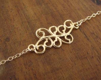 Gold bracelet, modern bracelet, gold filled 14k, minimalist bracelet, heart bracelet, dainty bracelet, bridesmaid gift, chain bracelet