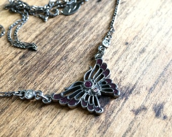 Vintage 1990s Butterfly Necklace * 90s * Purple * Rhinestone * Gift *
