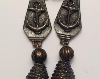 Vintage Pierced Black Earrings, Navy, Sailor,Vintage Jewelry, Vintage Earrings