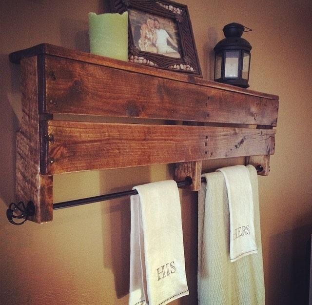 rustic pallet towel rack shelf by awrestoration on etsy. Black Bedroom Furniture Sets. Home Design Ideas