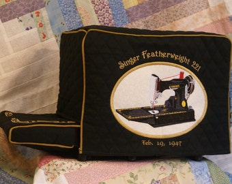 Singer Featherweight 221 Sewing Machine Cover Set- with Lift Table sleeve
