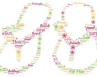 Personalised Flip Flops Design - A4 Print or Digital File