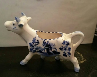 Deft's Blue Cow Creamer Hand Painted