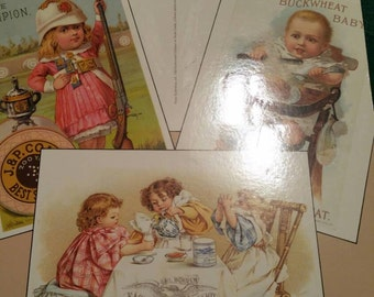Vintage Old Fashioned Children in Trade Cards