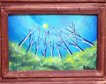 Acrylic landscape surrealist painting original art on wooden board with a stain finished wood frame