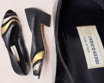 Enrico Gerbi Leather Pumps Vintage Shoes Black Gold Made in Italy Women's Italian Pumps Dress Shoes Size 6.5 B Leather Sole Leather Upper