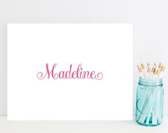 Pink Customized Stationery - Pink Pretty Font Personalized Stationary