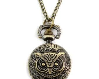 1pcs/ 25mm ,Retro Mini Owl pocket watch Necklace Chain,Necklace Pendant,craft supply BM-43