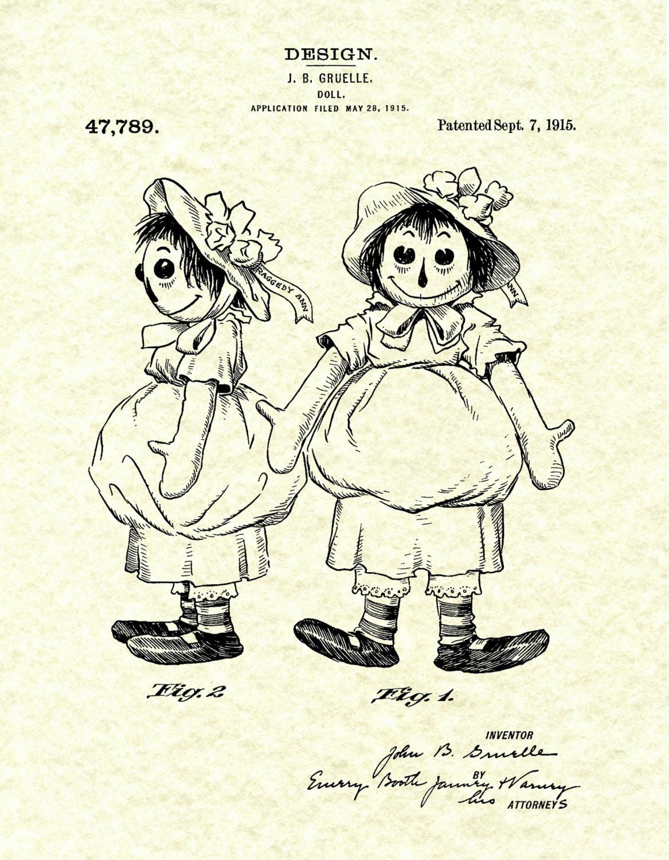 patent 1915 raggedy ann doll patent art print designed by john