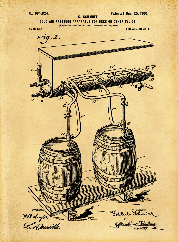 Patent 1900 Beer Apparatus Cold Air Pressure System Beer