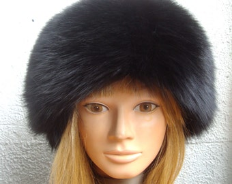Brand new black mink & fox  fur hat for women woman size all custom made