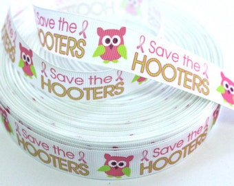 7/8 inch Save the Hooters on White - Printed Grosgrain Ribbon for Hair Bow